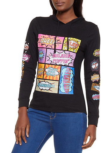 Pop Art Graphic Hooded Top,BLACK,large