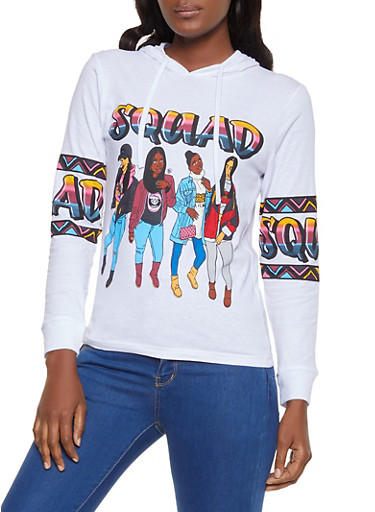 Squad Graphic Hooded Top,WHITE,large