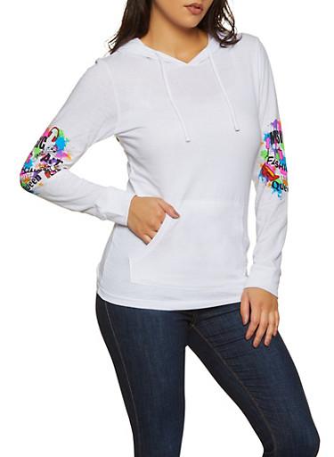 Paint Splatter Detail Hooded Top,WHITE,large