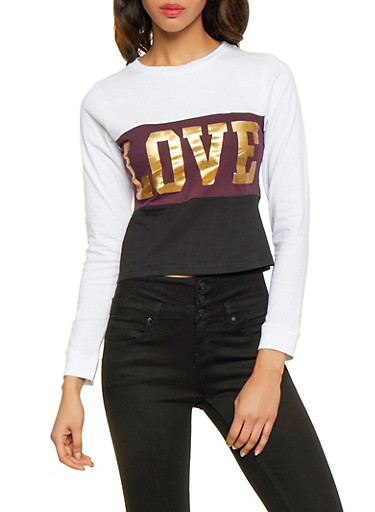 Love Graphic Color Block Tee,PURPLE,large