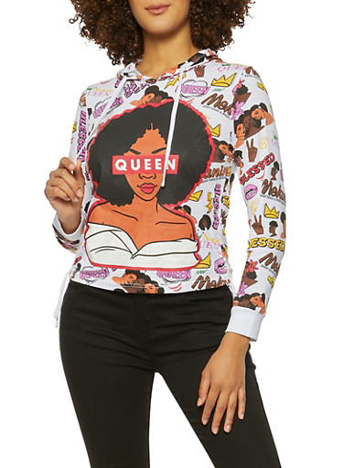 Queen Graphic Hooded Top,WHITE,large
