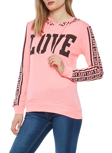 Love Graphic Hooded Top,NEON PINK,large