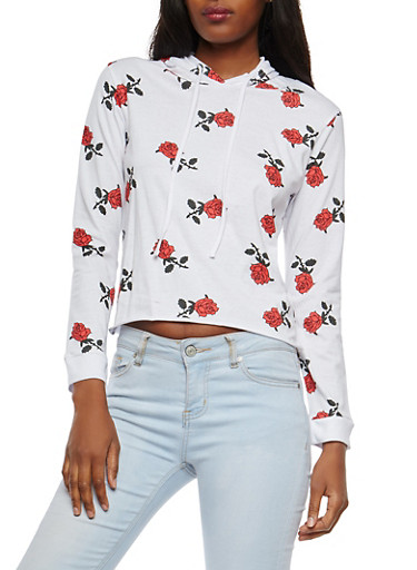 Printed Hooded Top,WHITE,large