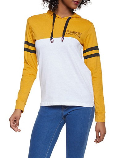 Love Graphic Color Block Hooded Top,MUSTARD,large