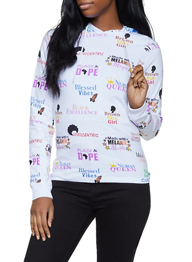 Afrocentric Text Graphic Lightweight Sweatshirt,WHITE,large