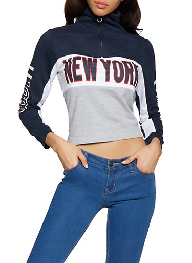 New York Graphic Half Zip Sweatshirt,NAVY,large