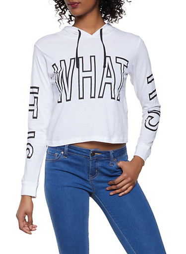 It is What It is Graphic Hooded Tee,WHITE,large