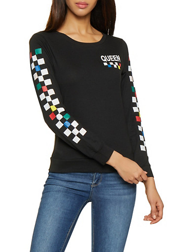 Queen Graphic Checkered Sleeve Tee,BLACK,large