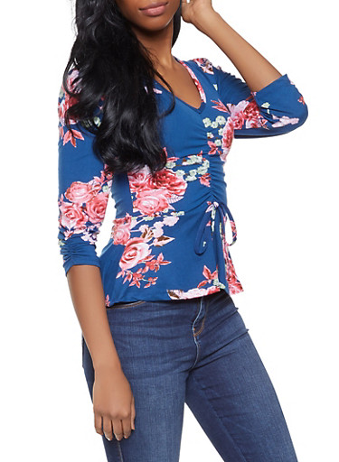 Ruched Floral Top,RYL BLUE,large