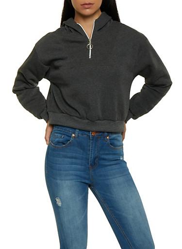 Half Zip Hooded Sweatshirt,CHARCOAL,large