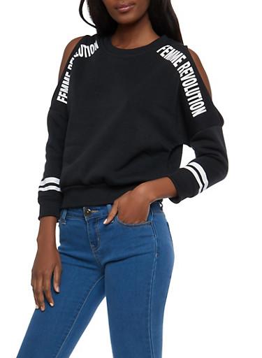 Femme Revolution Cold Shoulder Sweatshirt,BLACK,large
