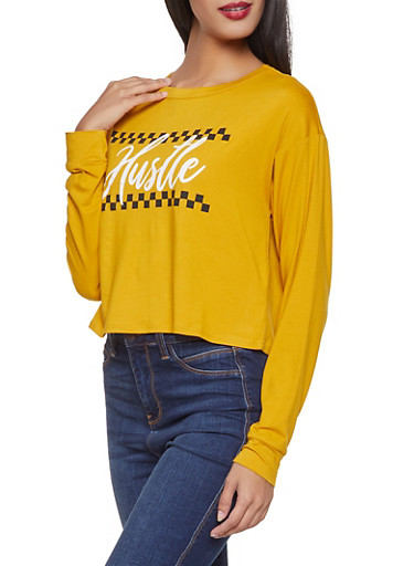 Hustle Graphic Soft Knit Top,MUSTARD,large