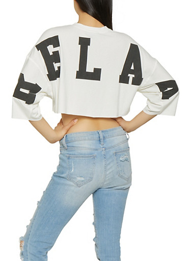 Oversized Text Graphic Back Crop Top,WHITE,large