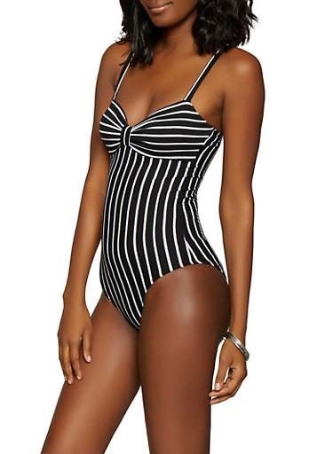 Striped Ponte Bodysuit,BLACK/WHITE,large