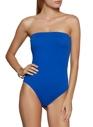 Solid Strapless Bodysuit,RYL BLUE,large