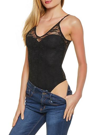 Lace Cami Bodysuit,BLACK,large