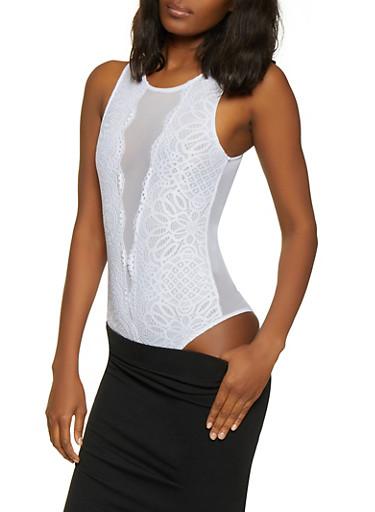 Lace Front Mesh Bodysuit,WHITE,large