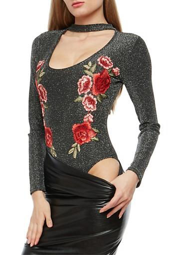 Floral Applique Shimmer Bodysuit,BLACK/SILVER,large