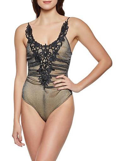 Lurex Mesh Sleeveless Bodysuit,BLACK,large