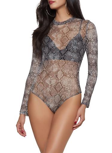 Snake Print Mesh Bodysuit,GRAY,large