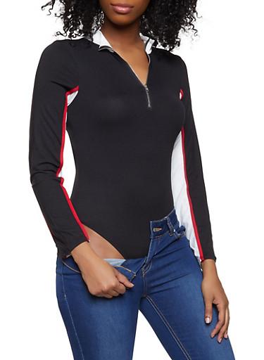 Color Blocked Zip Neck Bodysuit,BLACK/WHITE,large