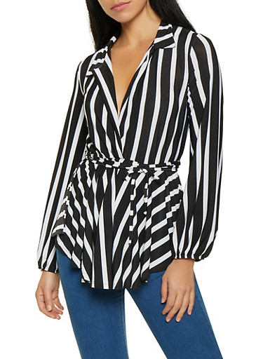 Striped Faux Wrap Overlay Bodysuit,BLACK/WHITE,large