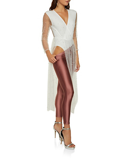 Faux Pearl Studded Mesh Overlay Bodysuit,WHITE,large
