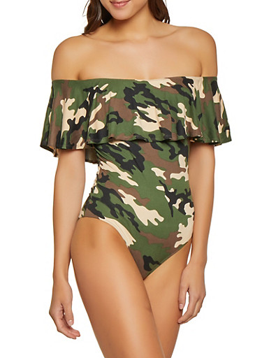 Camo Ruffled Off the Shoulder Bodysuit,OLIVE,large