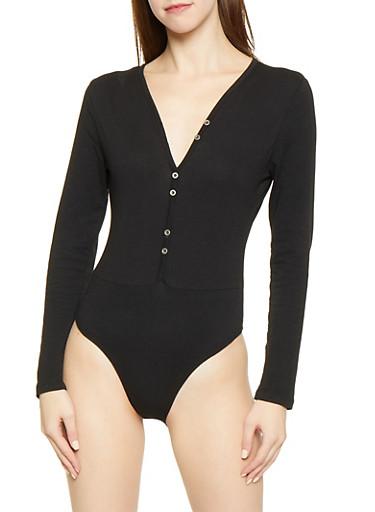 Solid Henley Bodysuit,BLACK,large