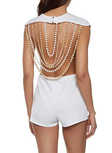 Faux Pearl Chain Back Romper,WHITE,large