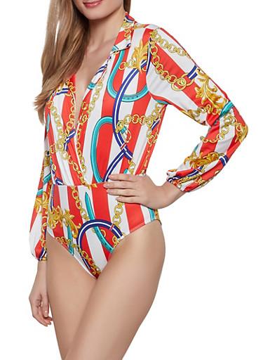 Long Sleeve Status Print Bodysuit,RED,large