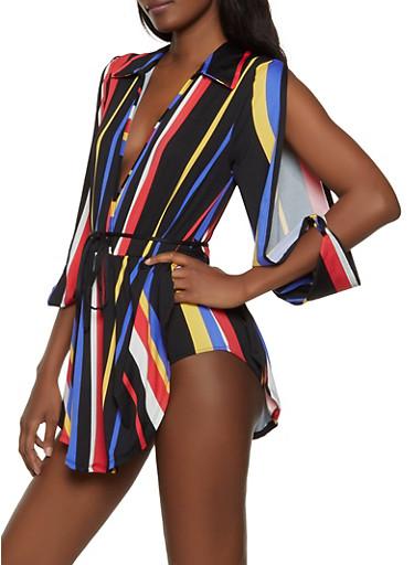 Striped Split Sleeve Faux Wrap Bodysuit,MULTI COLOR,large