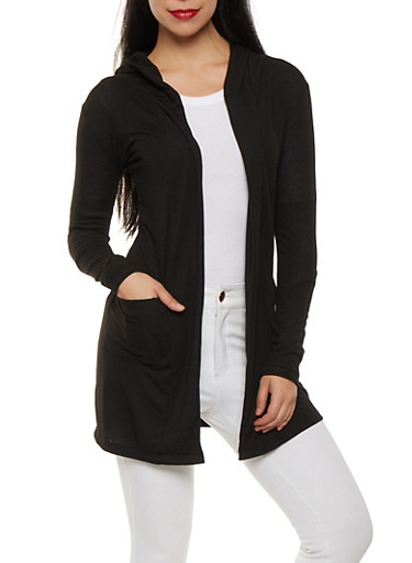 Open Front Hooded Cardigan,BLACK,large