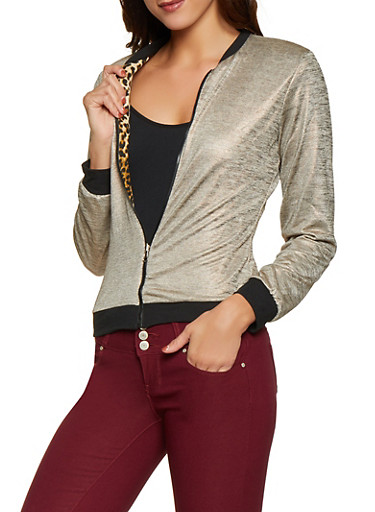 Foil Knit and Leopard Reversible Bomber Jacket,ROSE,large
