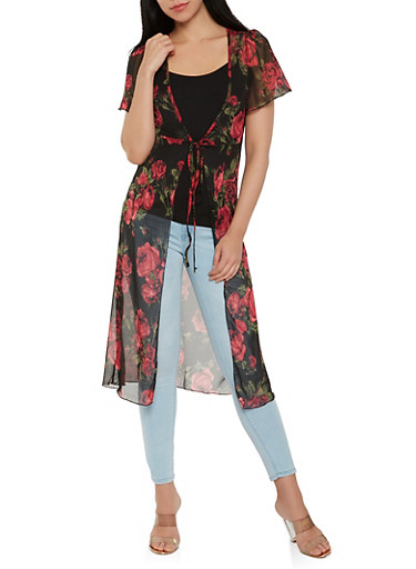 Floral Mesh Tie Front Duster,RED,large