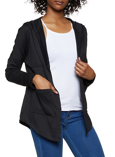 Hooded Open Front Cardigan,BLACK,large