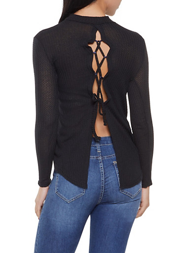 Open Back Lace Up Sweater,BLACK,large