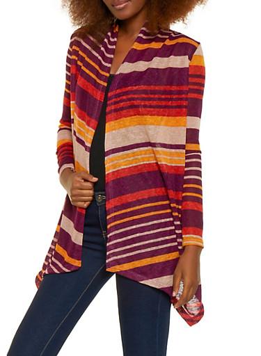 Striped Drape Front Cardigan,MUSTARD,large