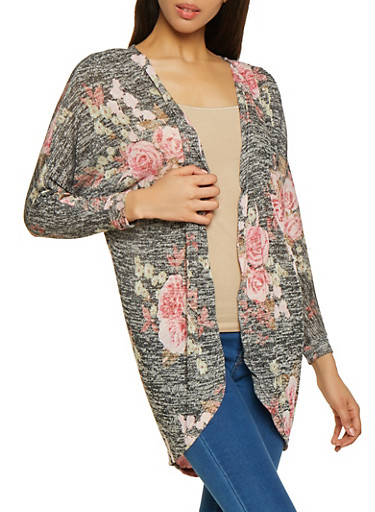 Floral Open Front Knit Cardigan,BLACK,large