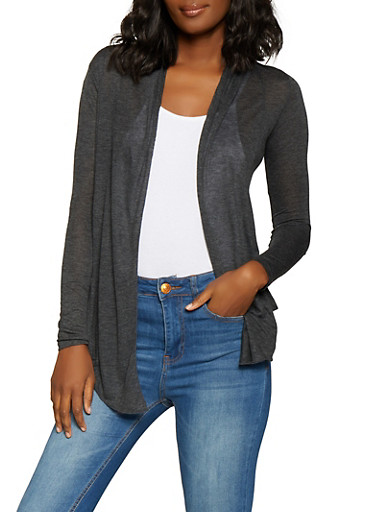 Open Front Cardigan,CHARCOAL,large