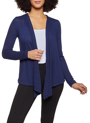 Long Sleeve Knit Open Front Cardigan,NAVY,large