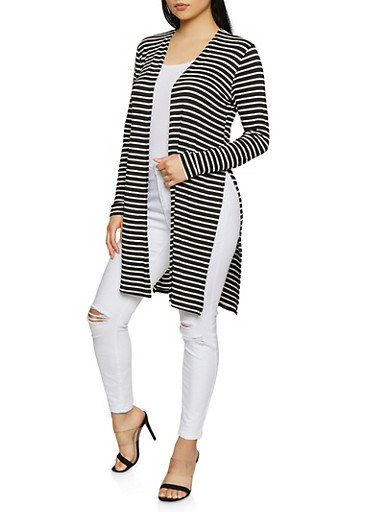 Striped Open Front Cardigan | 1308054261244,BLACK/WHITE,large