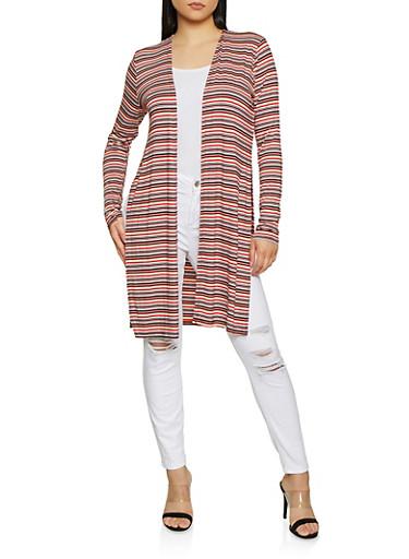 Striped Split Side Cardigan,WINE,large