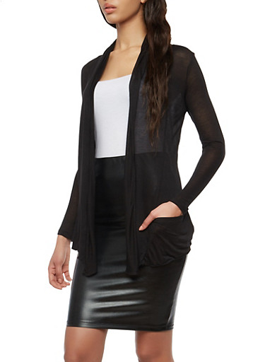 Light Weight Drape Front Cardigan,BLACK,large