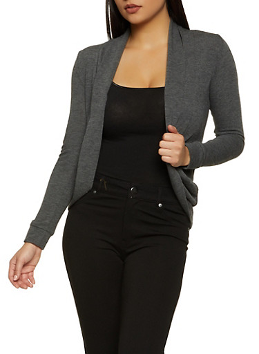 Long Sleeve Solid Cardigan,CHARCOAL,large