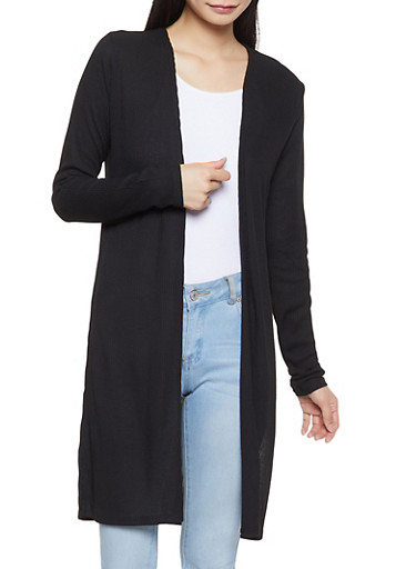 Rib Knit Cardigan,BLACK,large