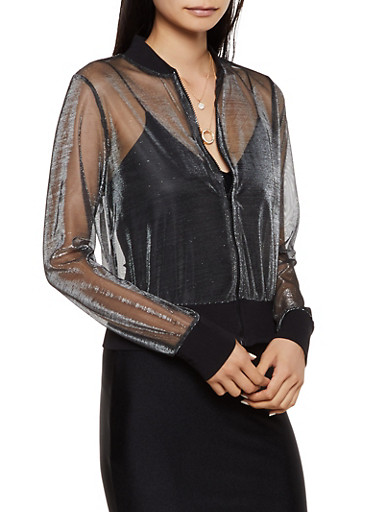 Lurex Mesh Bomber Jacket,BLACK,large