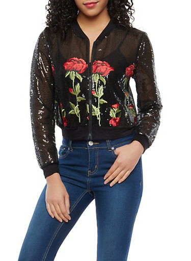 Embroidered Sequin Bomber Jacket,BLACK,large