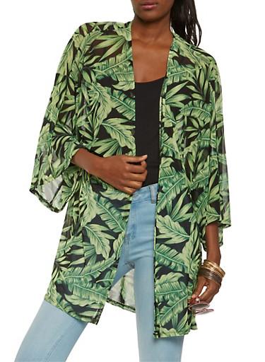 Palm Tree Print Mesh Kimono,BLACK,large