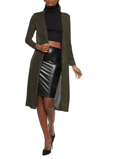 Glitter Knit Open Front Duster,GOLD/BLK,large
